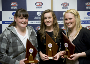 2009 Eastern Best & Fairest & Runner Ups - Sarah Perkins (RU) - East Burwood, Alicia Eva (BF) - East Malvern, Fiona Steiert (RU) - East Malvern