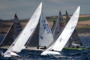 Neil Paterson (AUS032) amongst the fleet in Kinsale