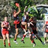 Sawtell/Toormina playing coach Jim Angel takes a strong mark against Coffs Swans. Photo: Leigh Jensen / Coffs Coast Advocate
