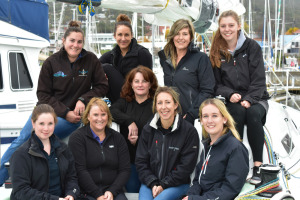 Skipper Colleen Darcey (centre, front row) with 9 members of the Tasmanian crew contesting the AWKR web_credit Jane Austin
