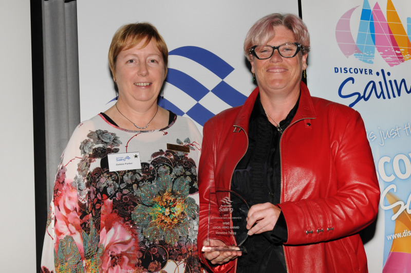 Vanessa Twigg (r) receiving her Local Hero Award from WGIS Chair Deb Parker