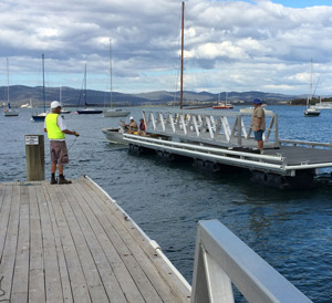 Pontoon and gangway underway